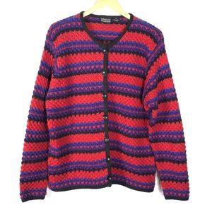 XL Red Striped Cardigan Sweater Red Purple